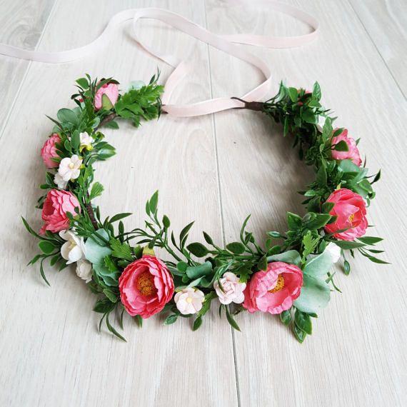 Greenery floral crown Peony floral crown by FlowersBySveta on Etsy
