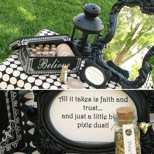 We need a similar set up like this one on your front entry table near the door... LOVE the bottles of pixie dust & all the black framed quotes!