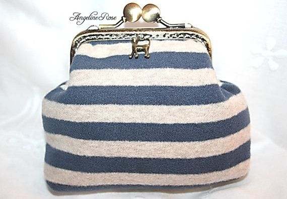 striped purse gray and blue striped clutch by AngelineRosePurse
