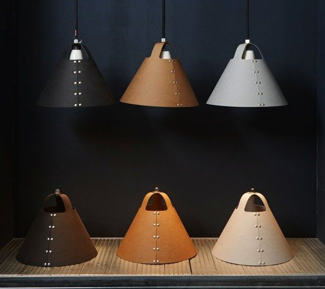 Shigeki Fujishiro's Rivet Lampshades / The Rivet lampshade consists of a single piece of vulcanized fiberboard, a material made of wood pulp and cotton that's typically used for electrical insulation. Above L: It hangs over Fujishiro's desk. Above R: The Rivet Lamp can be ordered from UK shop Folklore for £75.