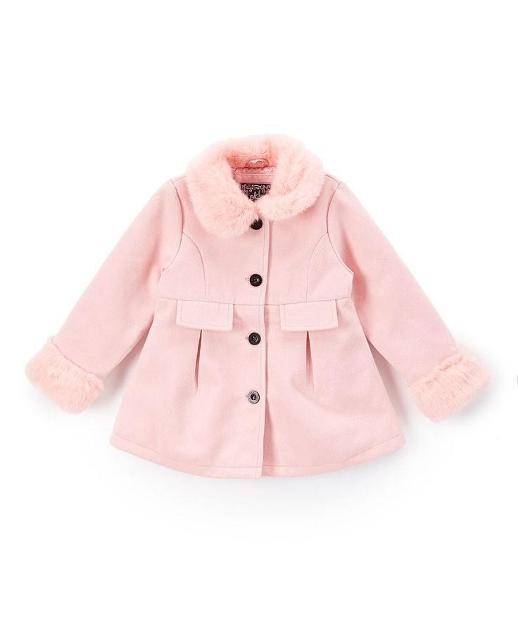 Pink Faux Fur-Trim Peacoat - Toddler & Girls