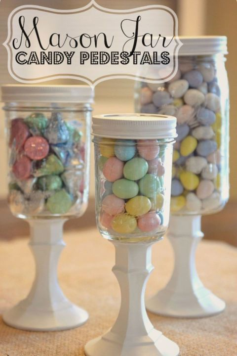 Hot glue Mason jars to the tops of glass candlesticks to give your Easter candy the elevated stature it deserves.