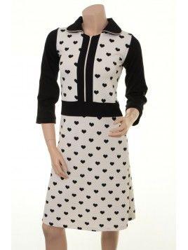 Margot Kleid Dora D Dancing dress jurk white black heart print harten wit zwart