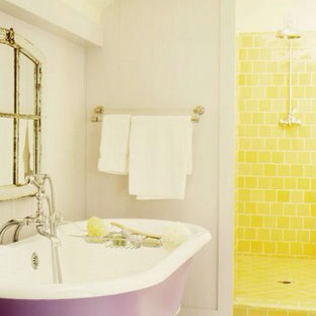 43 cool colorful bathroom ideas 43 cool colorful bathroom ideas with purple and white bathtub and yellow shower tiles color