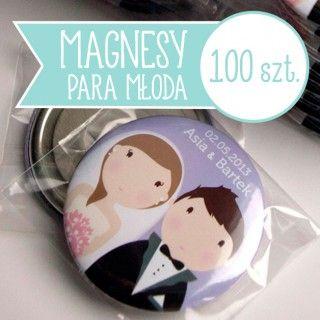 Prezenty dla gości magnesy ślubne Para Młoda