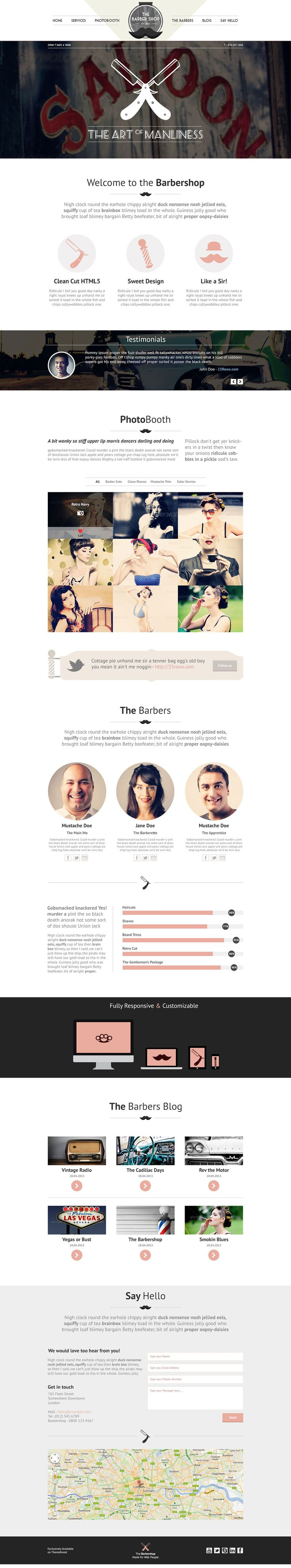 'The Barbershop' is a $13 One Page Responsive Template with a clean, unique retro/vintage design. The theme is packed with some great features to display any kind of details for your website. The theme can be used for Barbershops and for your personal portfolio.