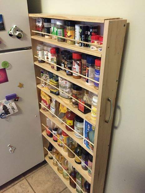 A minimalist DIY that made  a huge improvement in a tiny kitchen . Here's how boston09 turned a 4.5 inch gap into a rolling pantry... using no tool fancier than a hack saw!