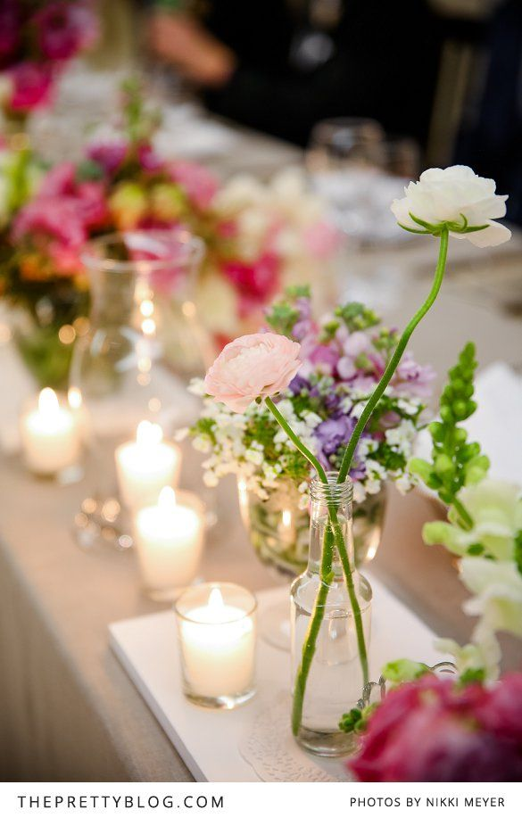 Flower & candle decoration | Photographers: Nikki Meyer