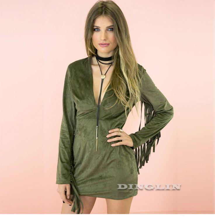 Armée Vert Sexy Femmes de Gland Manches Longues Plunge V Cou Mini Robe De Mode Femmes Automne Style Discothèque Robes Robes CL3315 dans de sur AliExpress.com | Alibaba Group