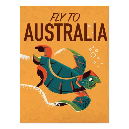 Fly to Australia Vintage travel poster Postcard