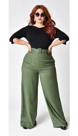 5eefe397c3 Collectif Plus Size 1940s Style Olive Green Gertrude Trousers ...