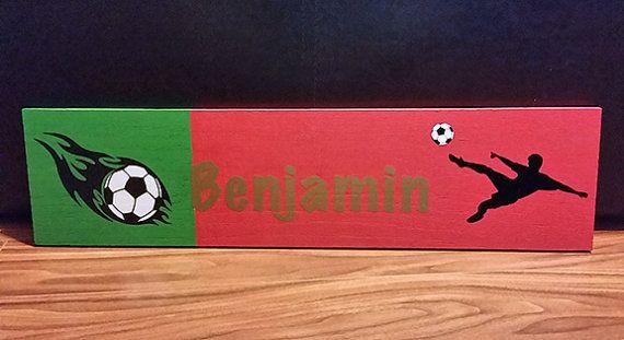 Custom Soccer Flag Name Plaque $27