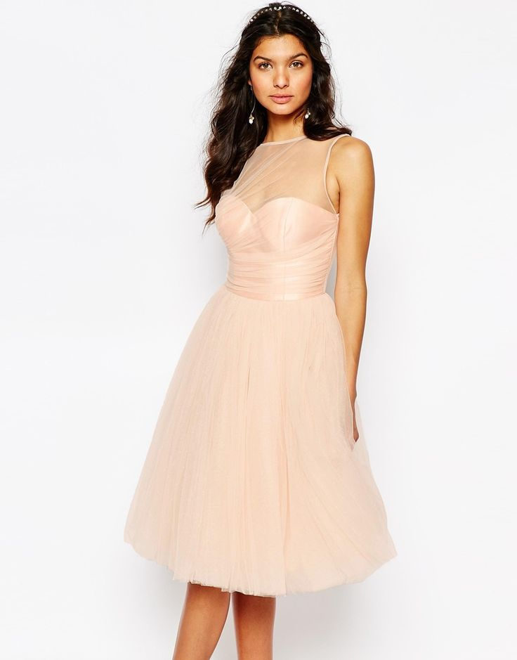 Chi+Chi+London+Tulle+Dress+in+Midi+Length+With+Pleated+Bust