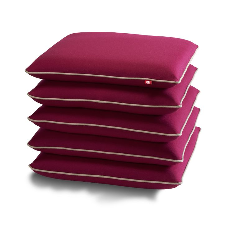 """Popsicle Collection:  seating element """"Pile me up, she said""""   color: fuchsia with grey  piping   size: 50 x 50 x 45 cm"""
