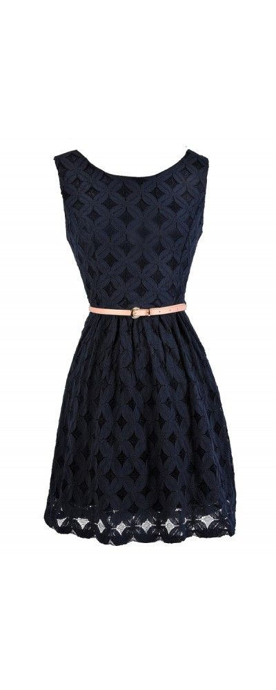 Whimsy and Wonder Petal Lace Belted A-Line Dress in Navy  www.lilyboutique.com
