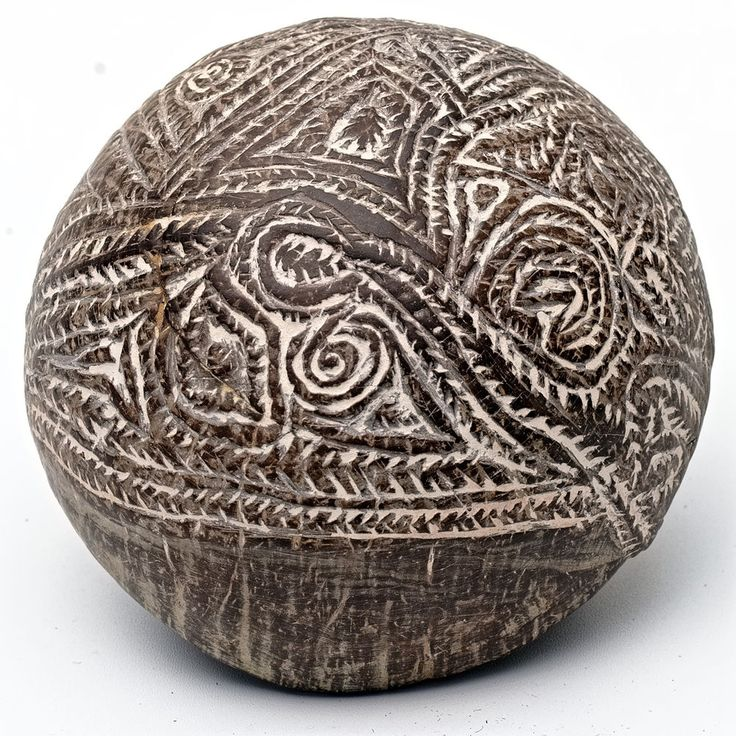 PNG Sepik Old ABELAM / MAPRIK Incised COCONUT Spoon / Ladle / Bowl - New Guinea
