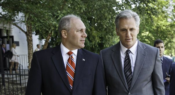 House GOP in disarray: Border fight delays recess  Read more: http://www.politico.com/story/2014/07/house-gop-no-vote-border-bill-109599.html#ixzz398KC644d  Steve Scalise, left, and Majority Leader-elect Rep. Kevin McCarthy are pictured. | AP Photo