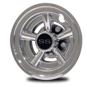 Golf Cart Hub Caps SS Set of 4 by Cycle Country. $67.99. SS Crager Style Hubcaps for 8 inch wheel Dress up your Golf Cart. EZ-GO, Club Car, Yamaha, Par Car, Harley Davidson, and Others with 8 inch wheel. Give it that Nostalgic HOT ROD look with Stylish, Chrome finish plastic wheel covers Set of 4  U.S. Made We accept Paypal and Propay  Will not fit EZ-GO RXV