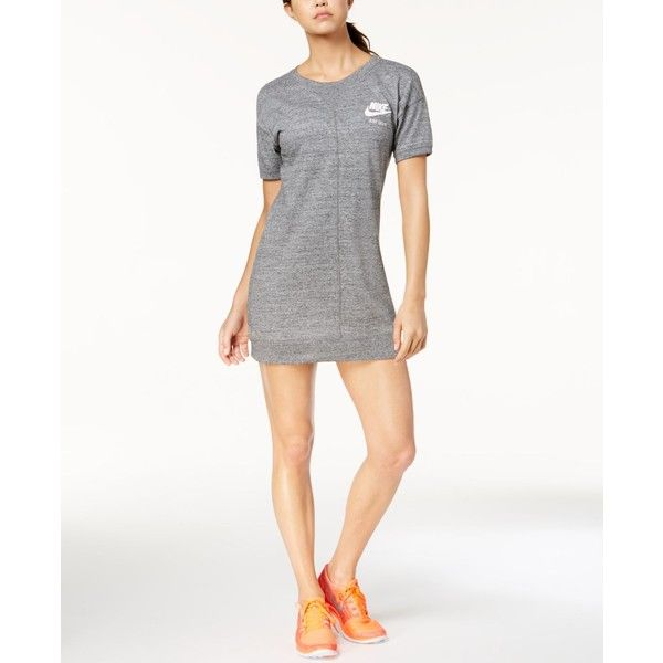 Nike Gym Vintage Dress ($60) ❤ liked on Polyvore featuring dresses, carbon heather, white colour dress, jersey knit dress, white dresses, vintage white dress and white jersey knit dress