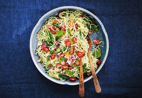 Mediterranean Noodles - Substitute with zuchinni noodles and limit green beans. Intro+