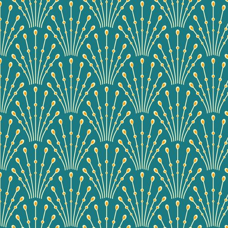 art deco beads - peacock fabric by coggon on Spoonflower - custom fabric