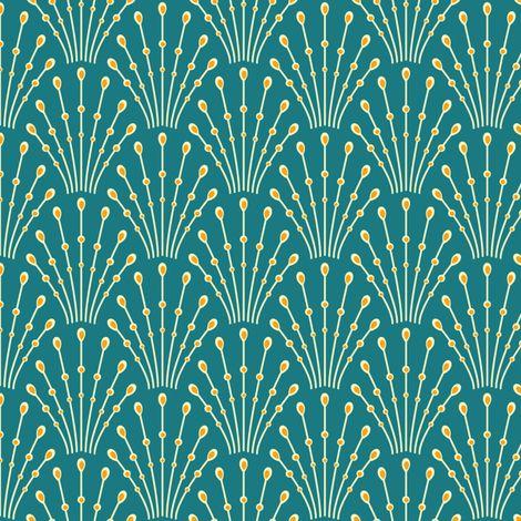 art deco beads - peacock fabric by coggon on Spoonflower - custom fabric