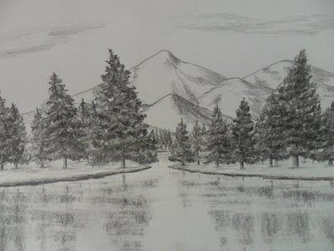 Cómo dibujar montañas a lápiz paso a paso, cómo aprender a dibujar paisajes - YouTube