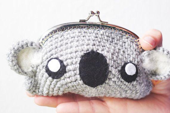 Koala Gehaakte tas koppeling munt van thesunandtheturtle op Etsy