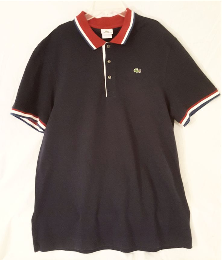 Navy, Red and White Lacoste Polo Shirt