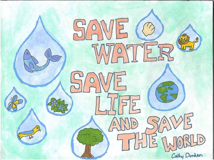 Create a class poster with each kid designing a water drop on what could be saved if we save water.