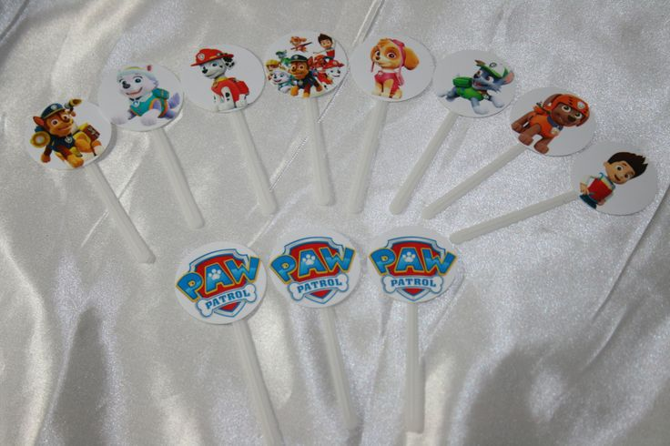 12 Paw Patrol Cake Picks, Cake Flags, Cupcake Picks, Any Theme, Any Design by perfectcaketoppers on Etsy