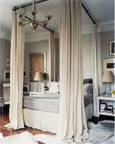 Don't even need a 4 poster bed to add these drapes or curtains.  Ceiling mount curtain rods or do these pipes for same effect.  I like!  Could work for daughter's room