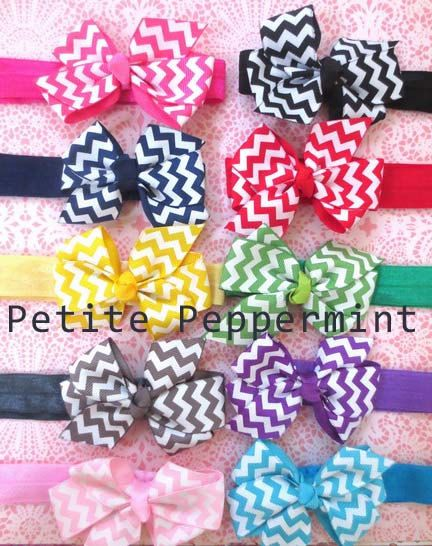 Baby headband, baby girl headband, newborn headband, toddler headband - Chevron Bow Headband SET OF TWO on Etsy, $5.95