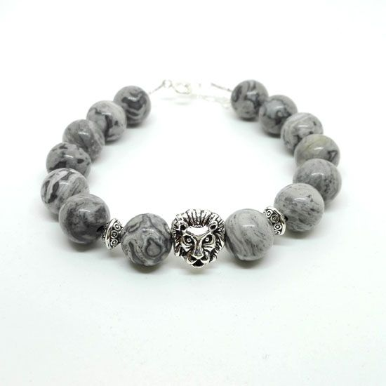 HANDMADE BRACELET GREY JASPER LION SILVER with Gemstones of Grey Jasper 10mm, Silverplated Metallic Lion Head and Silver 925 Chain and Clasps | Crystal Pepper