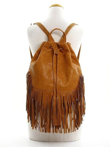Tan Fringe Drawstring Backpack