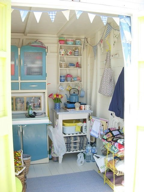 Cute beach hut, with lovely detailing inside