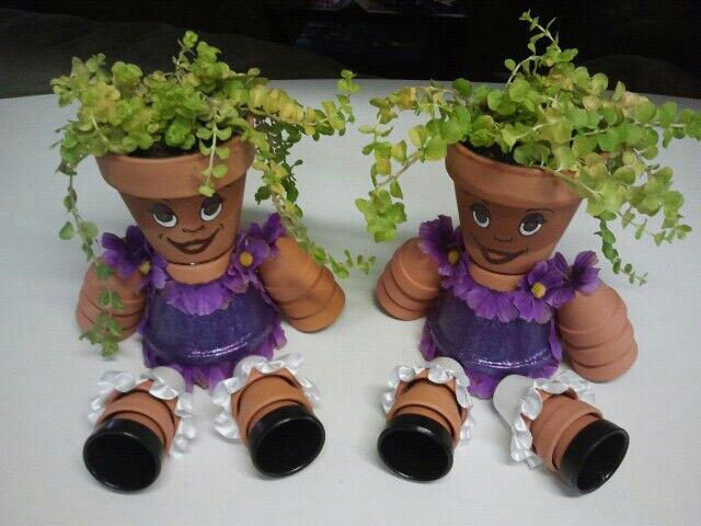 instructions to make flower pot people