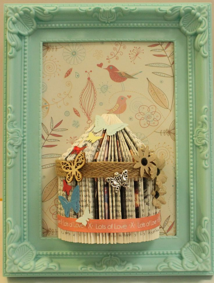 Unusual handmade gift personalised bird cage book fold art framed
