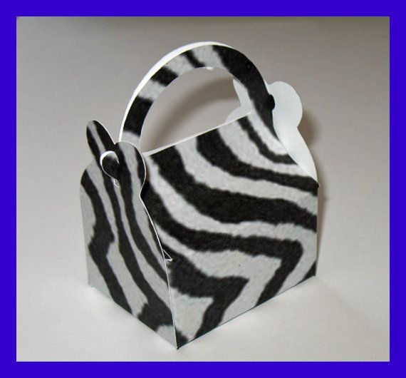 Zebra Party Favors, Zebra Party Favor Boxes, Zebra Birthday Boxes on Etsy, $1.35
