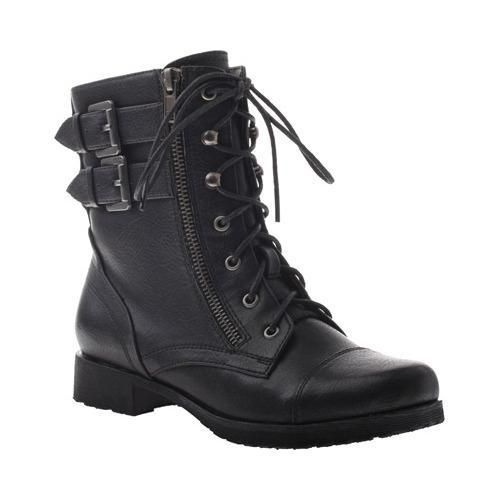 Add an edge to your look with the No Rush Biker Boot. It has a lace-up closure with a combination of hooks and eyelets for a secure fit. This mid-cut boot features a zip closure on the side for easy f