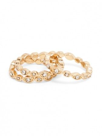 what girl doesn't love a gold ring stack with a touch of sparkle??