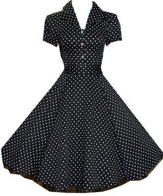 H LONDON BLACK POLKA DOT PINUP SWING 1950's HOUSEWIFE DRESS VINTAGE ROCKABILLY
