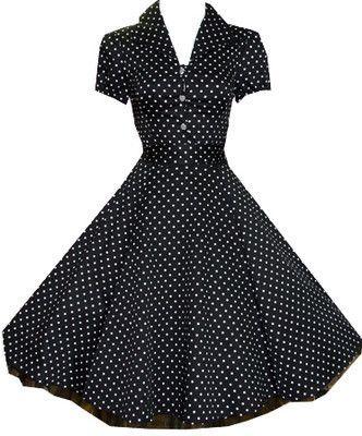 H LONDON BLACK POLKA DOT PINUP SWING 1950's HOUSEWIFE DRESS VINTAGE ROCKABILLY