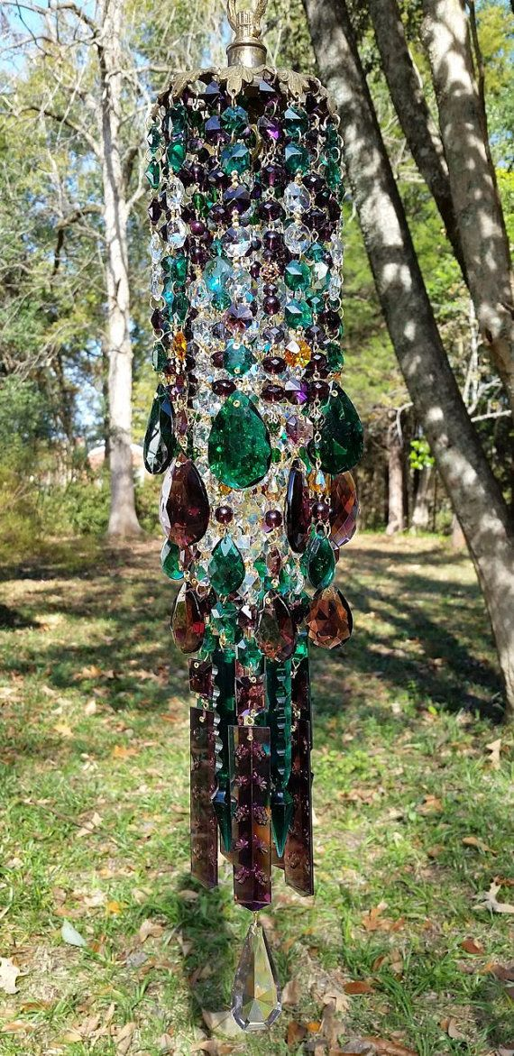 Forest Gypsy Antique Crystal Wind Chime by sheriscrystals on Etsy