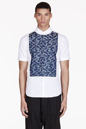 NEIL BARRETT White & blue CAMO-paneled shirt