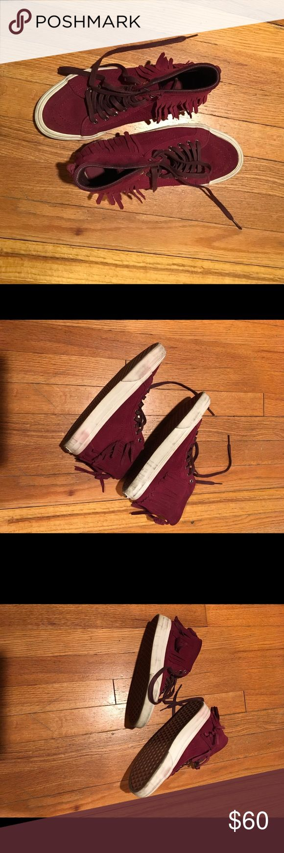 Madewell burgundy fringe Vans Good condition! Worn 3 or 4 times. Vans Shoes Sneakers