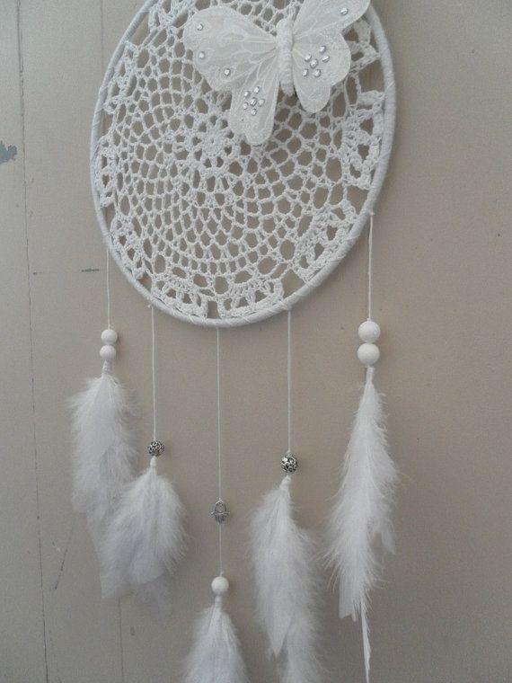 9 Quot White Crochet Doily Butterfly Amp Hamsa Dream Catcher