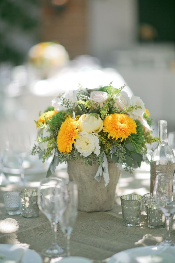 Rustic Summer Wedding Centerpiece-except with red gerbera daisies instead of yellow flowers