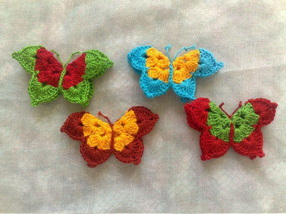 4 gehäkelte Schmetterling Applikationen dreidimensional im