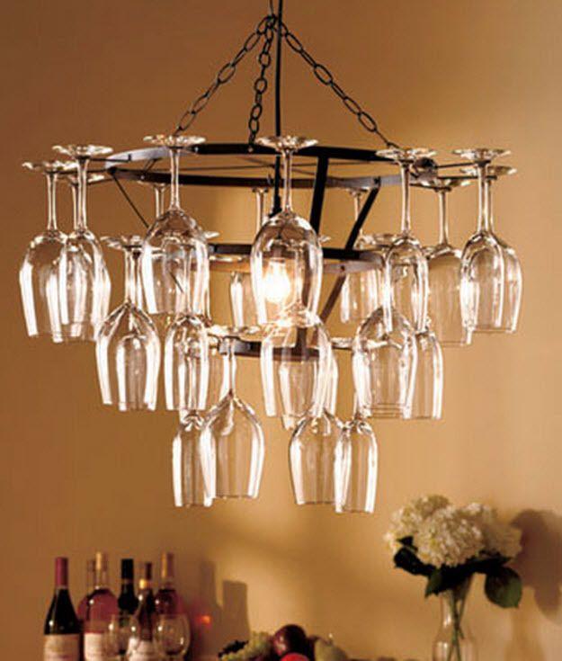 25 Glass Chandelier Wine Rack Bar Holder Hanging Kitchen Light Ceiling Fixture Contemporary